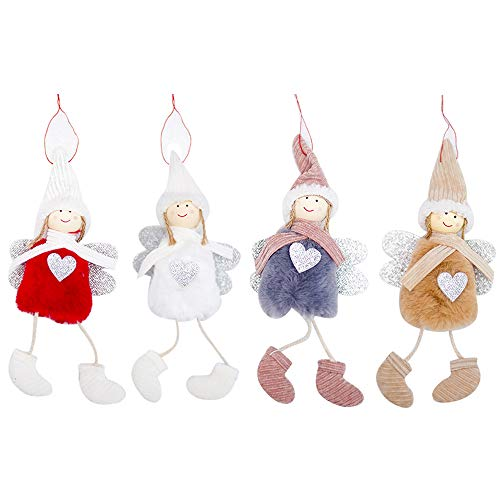 (Rely2016 4 Pack Christmas Doll Hanging Angel, Cute Angel Plush Doll Christmas Tree Door Wall Hanging Decoration House Ornaments for Patio Lawn Garden Party Holiday Decoration)