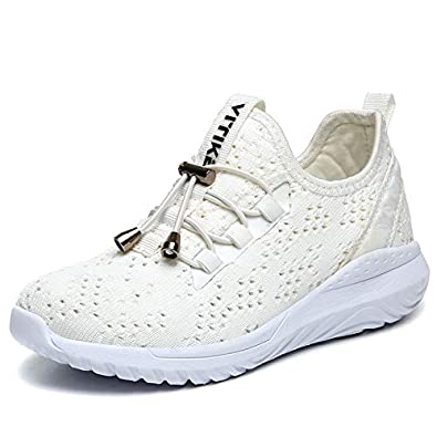 10ade11c251d2 VITIKE Kids Fly-Knit Sneakers Lightweight Breathable Sports Shoes for Boys  and Girls Used for Runing Outdoor-Walking White