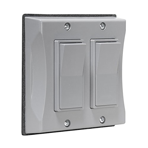 Hubbell 5127-0 2-Gang Weatherproof Cover, Vertical, Decorator, Gray, Shrink,
