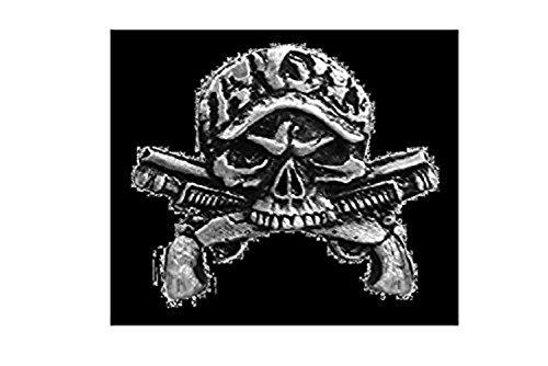 Licensed Originals Inc., Camo Skull Guns Lapel Pin - Heavy Pewter Biker Artwork Brooch Badge Button Pins