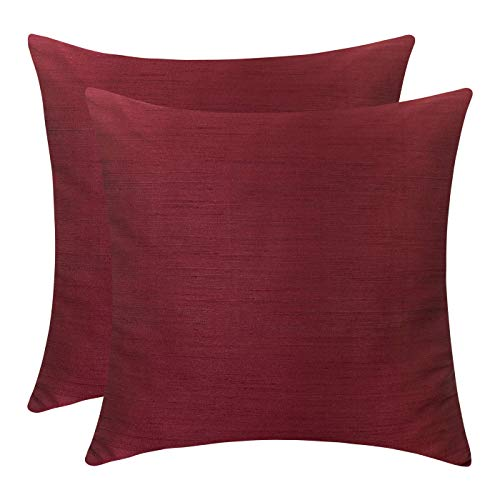 The White Petals Burgundy Euro Sham (Set of 2 Covers, Faux Raw Silk, Burgundy, 26x26 inches) (Euro Shams Pillow Burgundy)