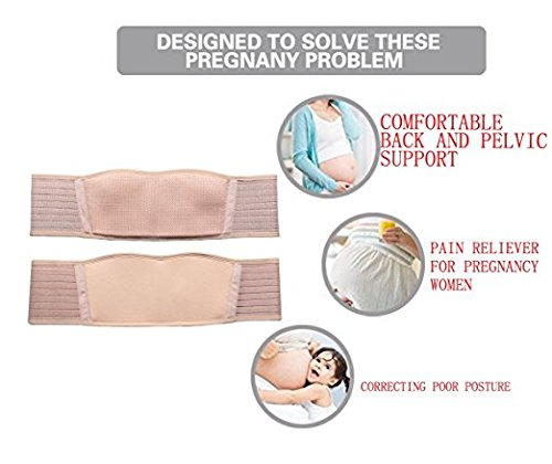 Maternity Belt Breathable Lightweight Abdominal Binder Back Support Comfortable Belly Band for Pregnancy One Size Beige by Sanky (Image #5)