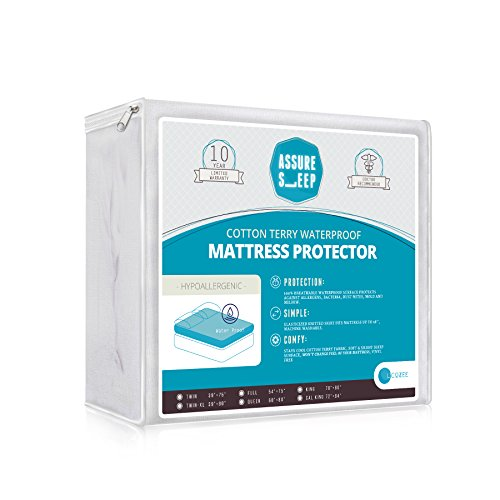 Twin XL Assure Sleep Mattress Protector - 100 % Waterproof - Breathable Soft Cotton Terry Cover - Hypoallergenic - 10 Year Warranty (Twin Bed Waterproof Liner compare prices)