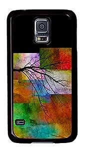 Samsung Galaxy S5 I9600 Case, iCustomonline Color Blocks With Tree Designs Case for Samsung Galaxy S5 I9600 Hard Black