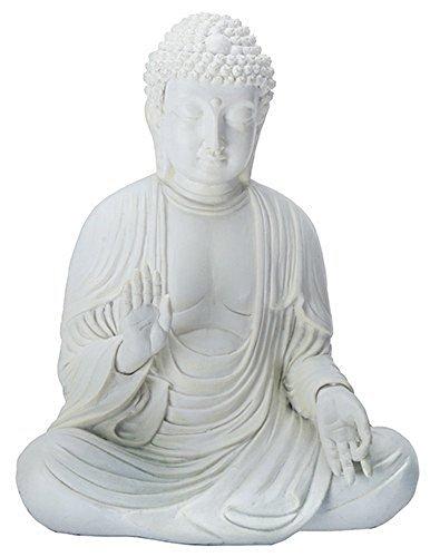 Amida Buddha Meditating Teaching Mudra Statue White, Resin 5.25 H