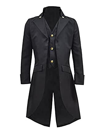 Boys Gothic Tailcoat Jacket Black Steampunk Victorian Long Coat Vampire Costume (Black, 10)