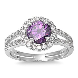 - Sterling Silver Simulated Amethyst ring Clear Cz Double Channel set Band Ring