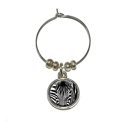 - Graphics and More Zebra Face - Safari Animal Print Stripes Wine Glass Charm Drink Stem Marker Ring