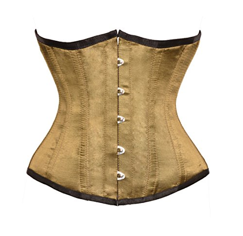 Bronze Yellow Satin Goth Burlesque Costume Waist Cincher