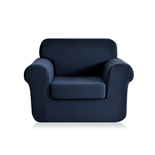 Arm Chair Polyester Cushion - CHUN YI 2-Piece Jacquard Stretch Arm Chair Slipcover, Polyester and Spandex 1 Seater Cushion Couch Sofa Settee Cover Coat Slipcover, Furniture Protector Cover for Sofa and Couch (Chair, Dark Blue)