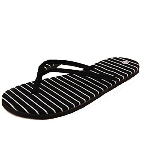 LANDFOX Zapatillas de rayas de piso Zapatillas de playa de verano Zapatillas de masaje