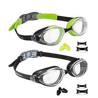 EverSport Swim Goggles, Pack of 2, Swimming Glasses for Adult Men Women Youth Teenager, Anti-Fog, UV Protection, Shatter-Proof, Watertight (Black & Green/Black)