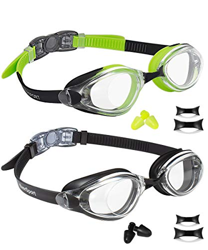 EverSport Swim Goggles, Pack of 2, Swimming Glasses for Adult Men Women Youth Teenager, Anti-Fog, UV Protection, Shatter-Proof, Watertight (Black & Green/Black)