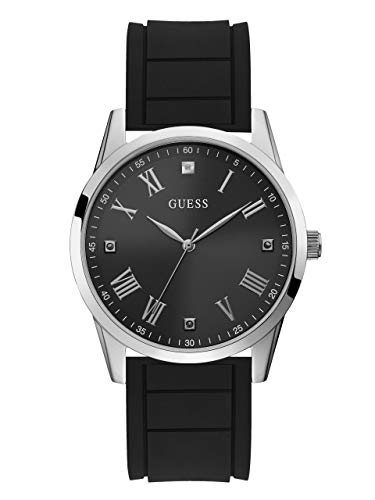 - GUESS  Comfortable Black Stain Resistant Silicone Watch with Black Genuine Diamond Dial + Silver-Tone Roman Numerals. Color: Black (Model U1221G1)