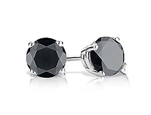 Black Diamond Stud Earrings 1/2 Carat (ctw) in Sterling Silver