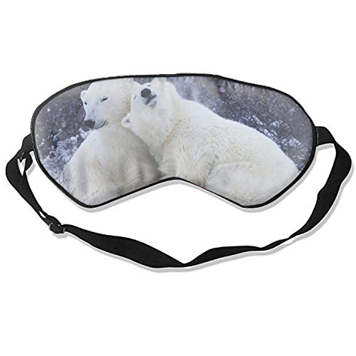 Good Night Sleep Mask - Polar Bears Snow Winter Hugs Affection Eye Cover, Soft & Comfortable Blindfold for Total Blackout & Light Blocking ()