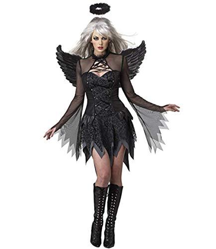 Fallen Angel Dress Costume Halloween Masquerade Dress up (S, Black) -