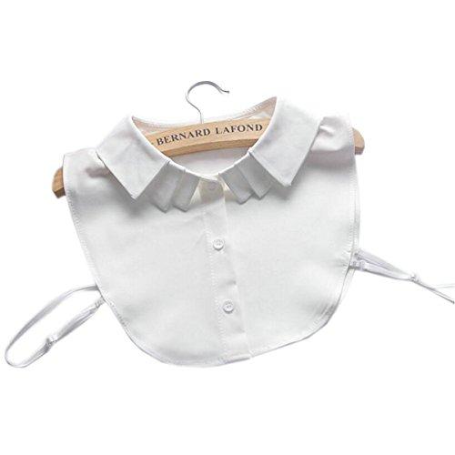 Joyci New Arrival Pure White Detachable Dickey Peter Pan Shirt Fake