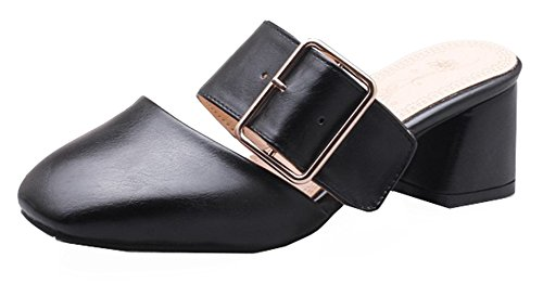 Square Toe Buckle - SHOWHOW Women's Comfy Square Toe Buckle Block Heel Mule Sandals Black 8 B(M) US