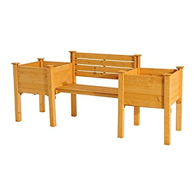 New Wooden Garden Bench W/ Flower Bed Patio Outdoor Furniture Gardening Planter
