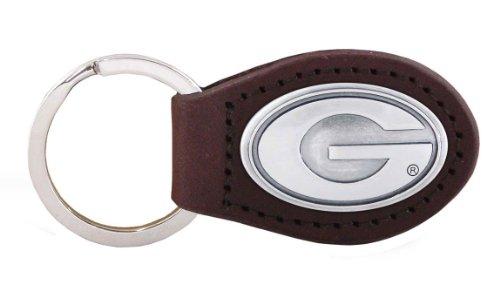 NCAA Georgia Bulldogs Brown Leather Concho Key Fob, One Size