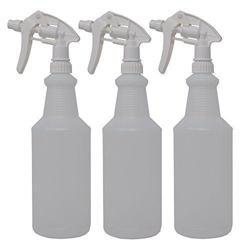 Large Product Image of Empty Spray Bottles Set of 3 - Heavy Duty Trigger Sprayers with Filters - Household or Commercial Use (3, 32oz White Trigger Sprayer)