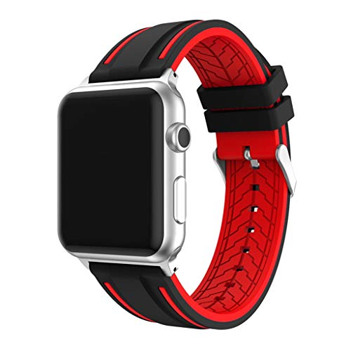 HighlifeS Apple WatchBand,for Apple Watch Series 1/2/3 Two-Tone Newest Sport Silicone Bracelet Watch Band Wrist Strap (Red, 42 mm)
