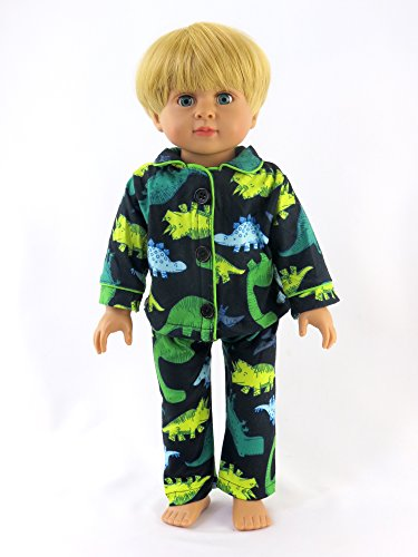 Review Green Yellow Dino Pajamas For Boys | Fits 18″ American Girl Dolls, Madame Alexander, Our Generation, etc. | 18 Inch Doll Clothes
