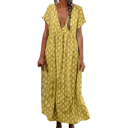 Women's Sexy Deep V Neck Dresses Vintage Printed Ethnic Style Maxi Dress Casual Swing Summer Beach Long Dress Yellow ()