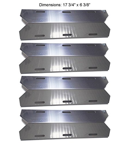 BBQ funland SH1231 (4-pack) Stainless Steel Heat Plate, Heat Shield for Costco Jenn-air, Kirkland, Nexgrill, Sterling Forge, Glen Canyon Gas Grill Models by BBQ funland