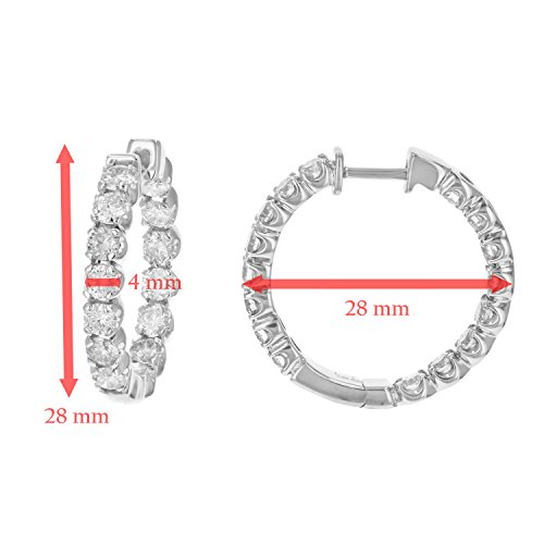 4 cttw SI2-I1 Certified 14K White Gold Diamond Inside Out Hoop Earrings (J-K) by Vir Jewels (Image #2)