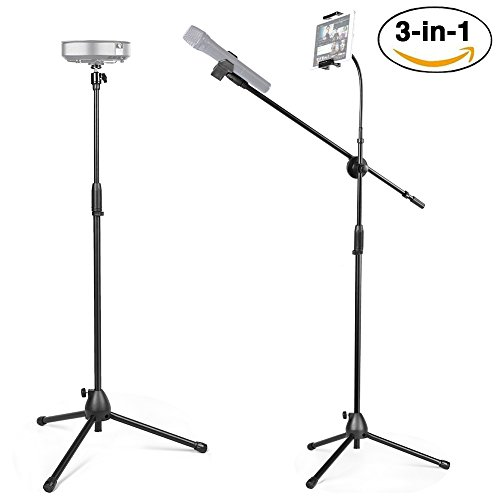 Kit Panorama (3 in 1 Tablet and Microphone Stand Kit, Portable Projector Stand with 360° Panorama Ball Head and Cell Phone Stand for Photo and Video [Includes Carrying Bag])