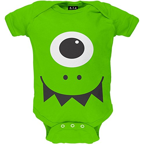 9-12 Month Old Halloween Costumes (Monster Face Costume Green Baby One Piece - 9-12 months)