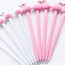 Bluelans 10 Pack Cute Flamingo Black Writing Gel Ink Pen for Office School Student Supplies,0.5 mm Tip Rollerball Pens