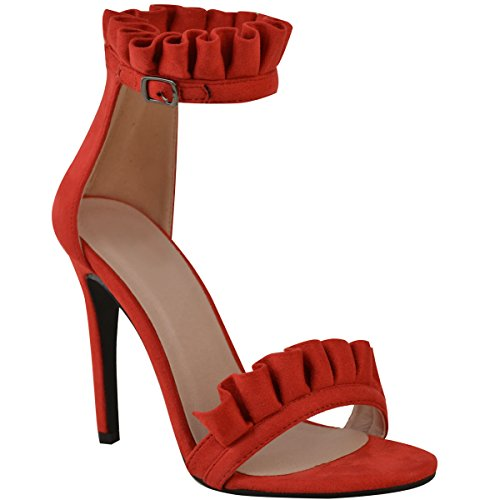 Fashion Thirsty Womens Frill Detail High Heels Sandals Ankle Cuff Party Stilettos Size 9