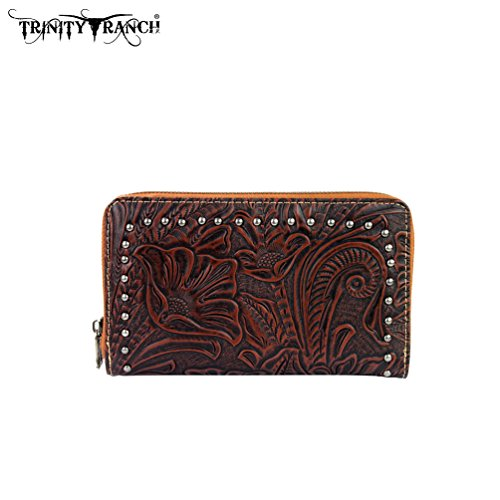 TR22-W003 Montana West Trinity Ranch Tooled Design Wallet-Brown