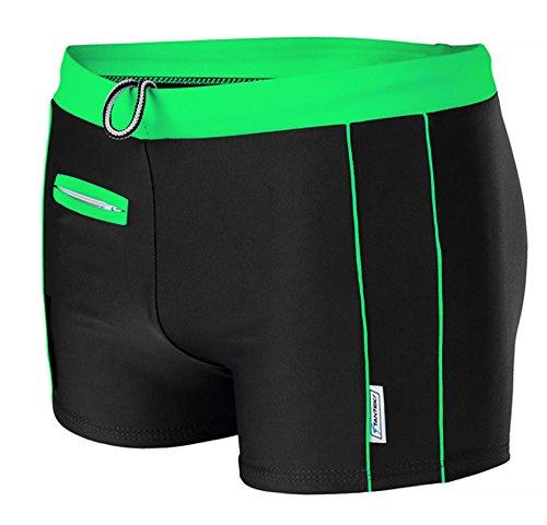STANSK0015 STANTEKS XL grün Herrenbadehose Boxer Badeslip Clasic Badeshorts Bademode Herren (schwarz-grün, XL)