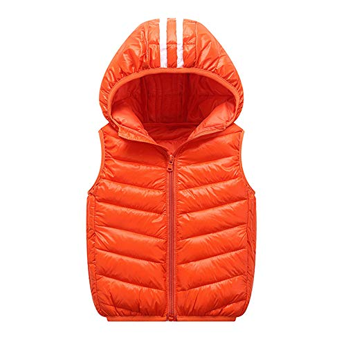 Lollyeca Children Girl Boys Baby Sleeveles Winter Warm Coats Vest Zipper Cotton Striped Thick Hoodie Outerwear Vest (Orange, 7T(6-7Years Old))
