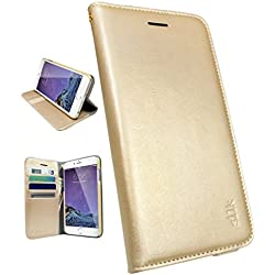"iPhone 6 Plus/6s Plus Wallet Case - Folio Wallet Case for iPhone 6 Plus/6s Plus (5.5"") by Silk - Protective Portfolio Cover with Foldable Kickstand (Champagne Gold)"