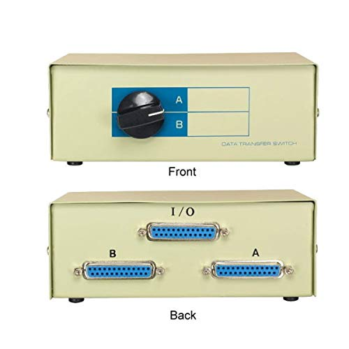 (KENTEK DB25 2 Way Manual Data Switch Box RS-232 Parallel Serial D-Sub 25 Pin Female I/O AB Port for PC MAC to Peripherals Devices Printer Modem)