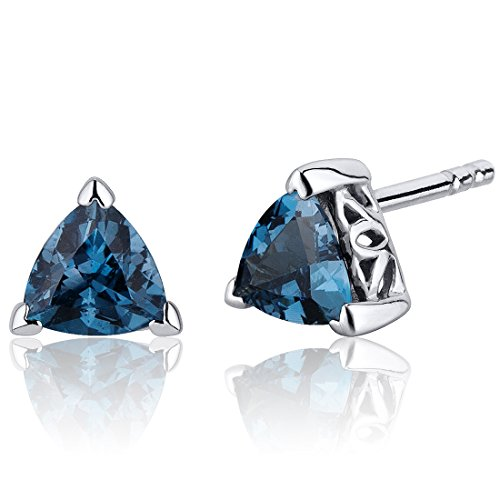 London Blue Topaz Trillion Stud Earrings Sterling Silver 1.50 ()