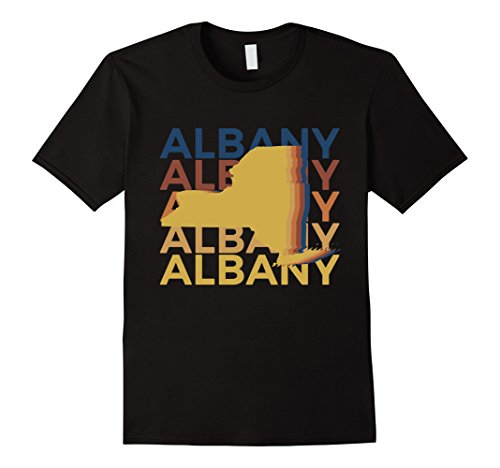 Mens Albany New York T Shirt Vintage Repeat Small Black - Albany New York