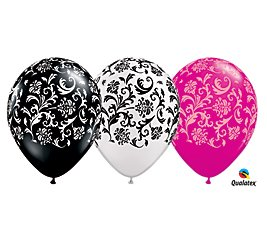 Qualatex (12) 11 Damask Patterned Black, White & Pink Latex Balloons Party Decor by Qualatex -