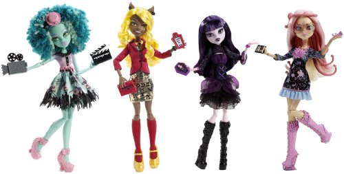 Monster High Frights, Camera, Action! Set of 4 Viperine Gorgon, Elissabat, Clawdia Wolf and Honey Swap!]()