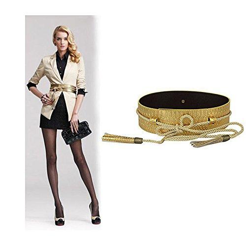 VITORIA'S GIFT fashion Tassel Knot Black Gold Snake Skin Wide Belts For Women Ladies
