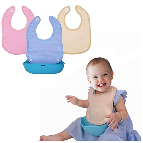 Lekebaby Bandana Drool Bibs with Removable Silicone Baby Bibs Easily Wipes Clean for Infants and Toddlers Feeding Bibs, Set of 3