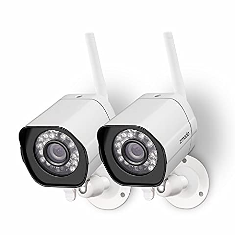 Zmodo 720p HD Outdoor Home Wifi Security Surveillance Video Cameras System (2 Pack) - Cloud Service - Wireless Outdoor Infrared Camera