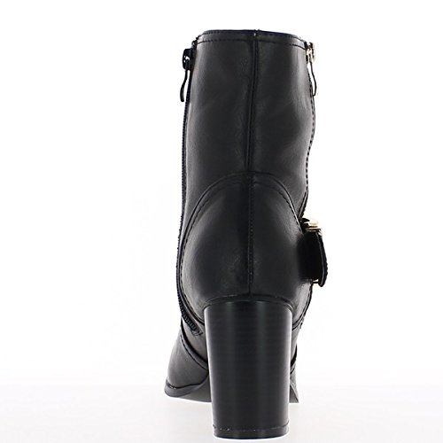 Black boots lined with thick heels of 8cm with wide flange bqXStRRh