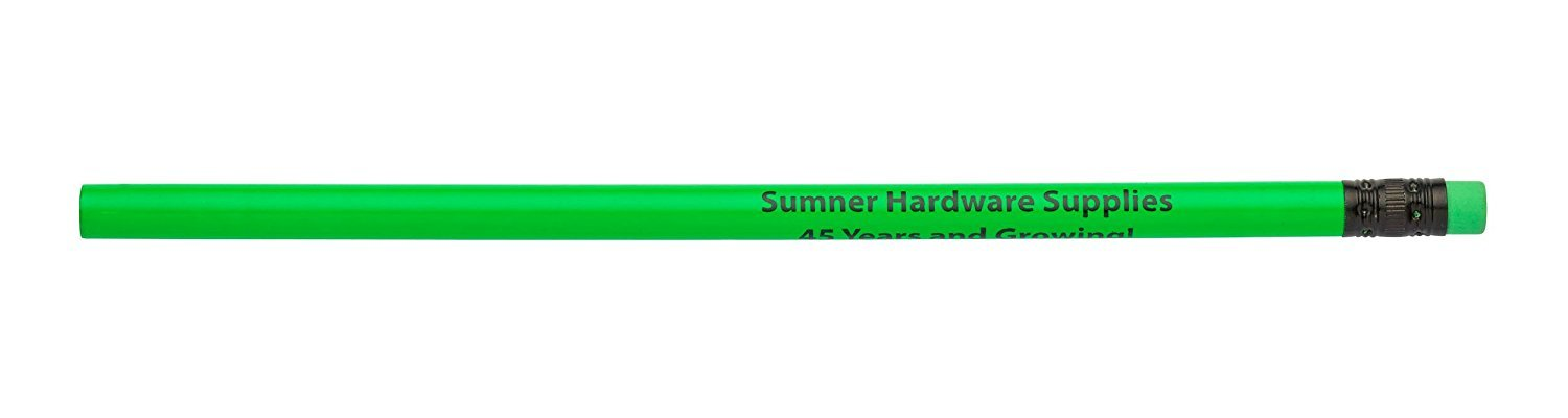 Pencil Guy Promotional Personalized Imprinted Neon Round Pencils- 500 per Box Green by Pencil Guy (Image #1)