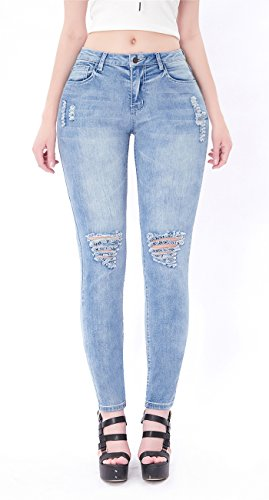 Womens Blue Distressed Ripped Skinny Stretch Jeans Butt Lift Super Comfy Denim Pants (Light Blue, 13) (Butt Lift Denim)